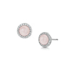 rhodium stud earrings with semi precious rose quartz