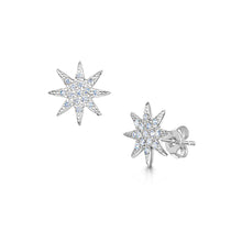 rhodium star stud earrings