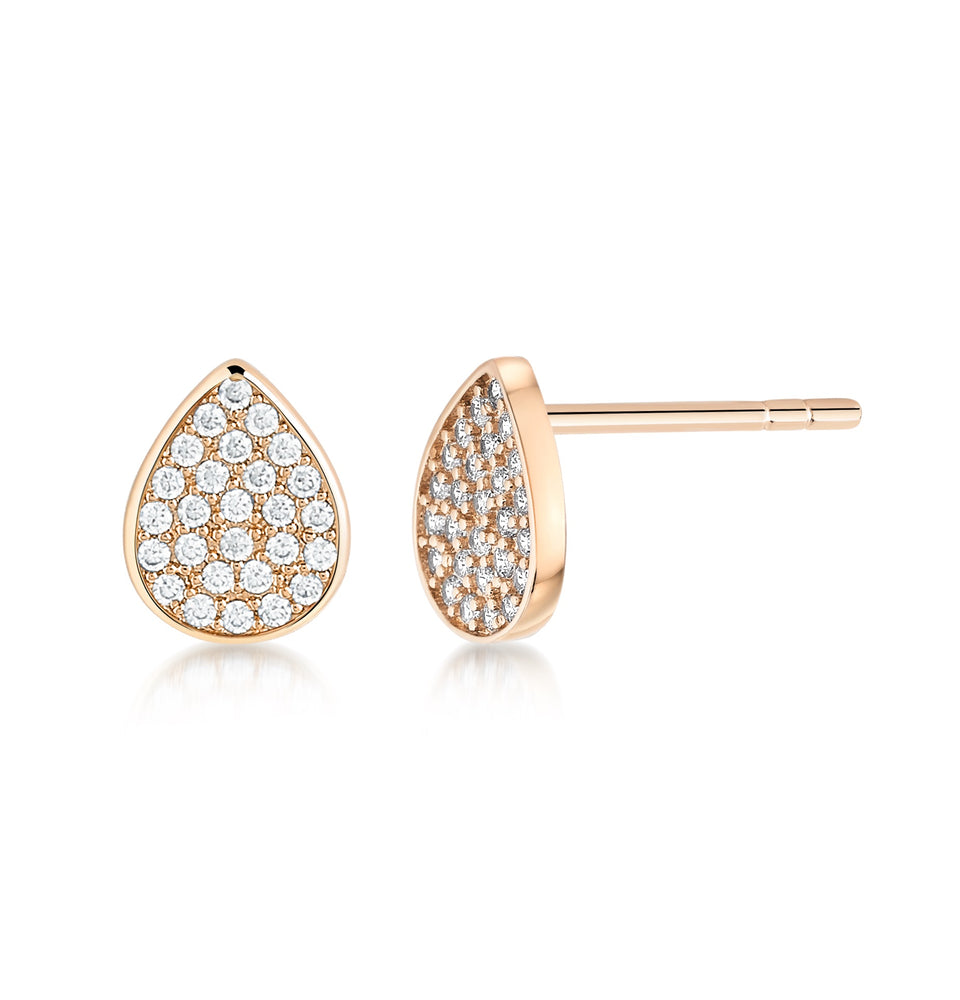 Pave Pear shaped studs- Rose Gold