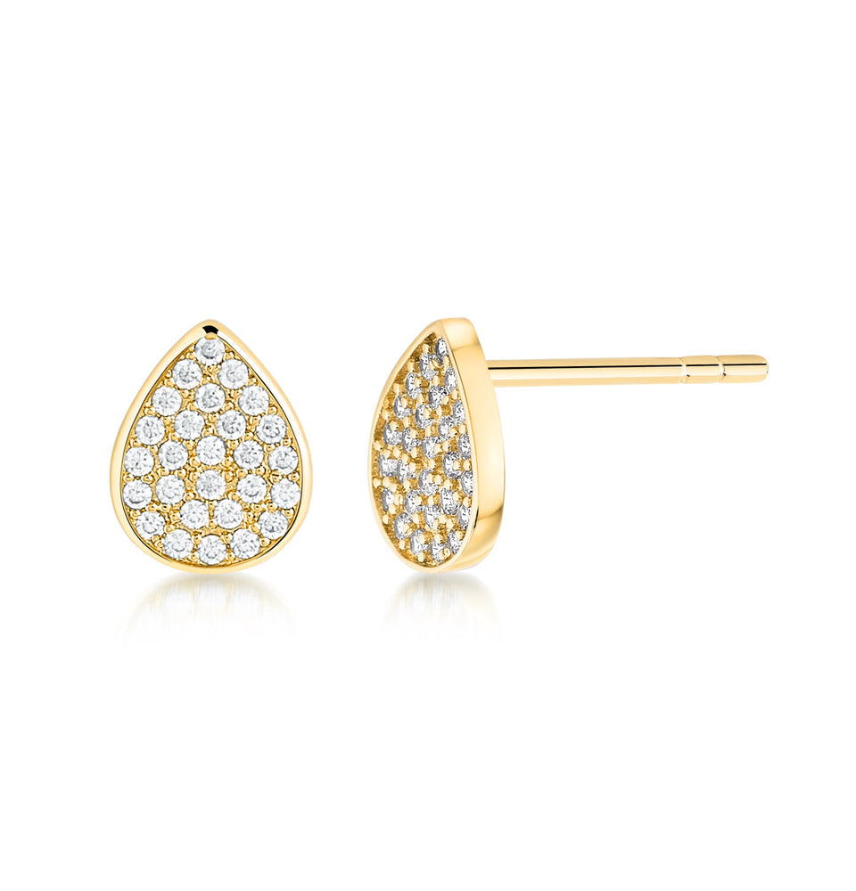 Florence Pave Stud - Yellow Gold