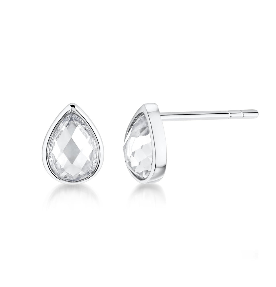 Pear shaped stud earrings- Rhodium