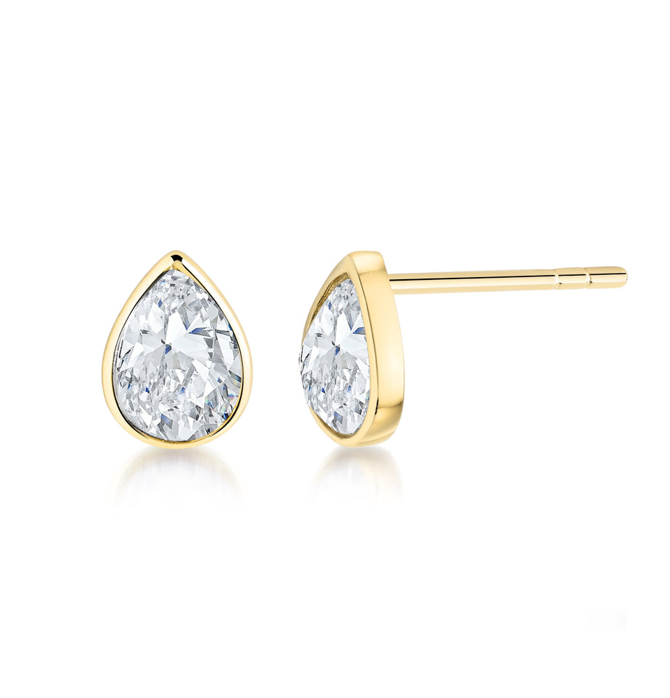Pear shaped stud earrings- Yellow Gold
