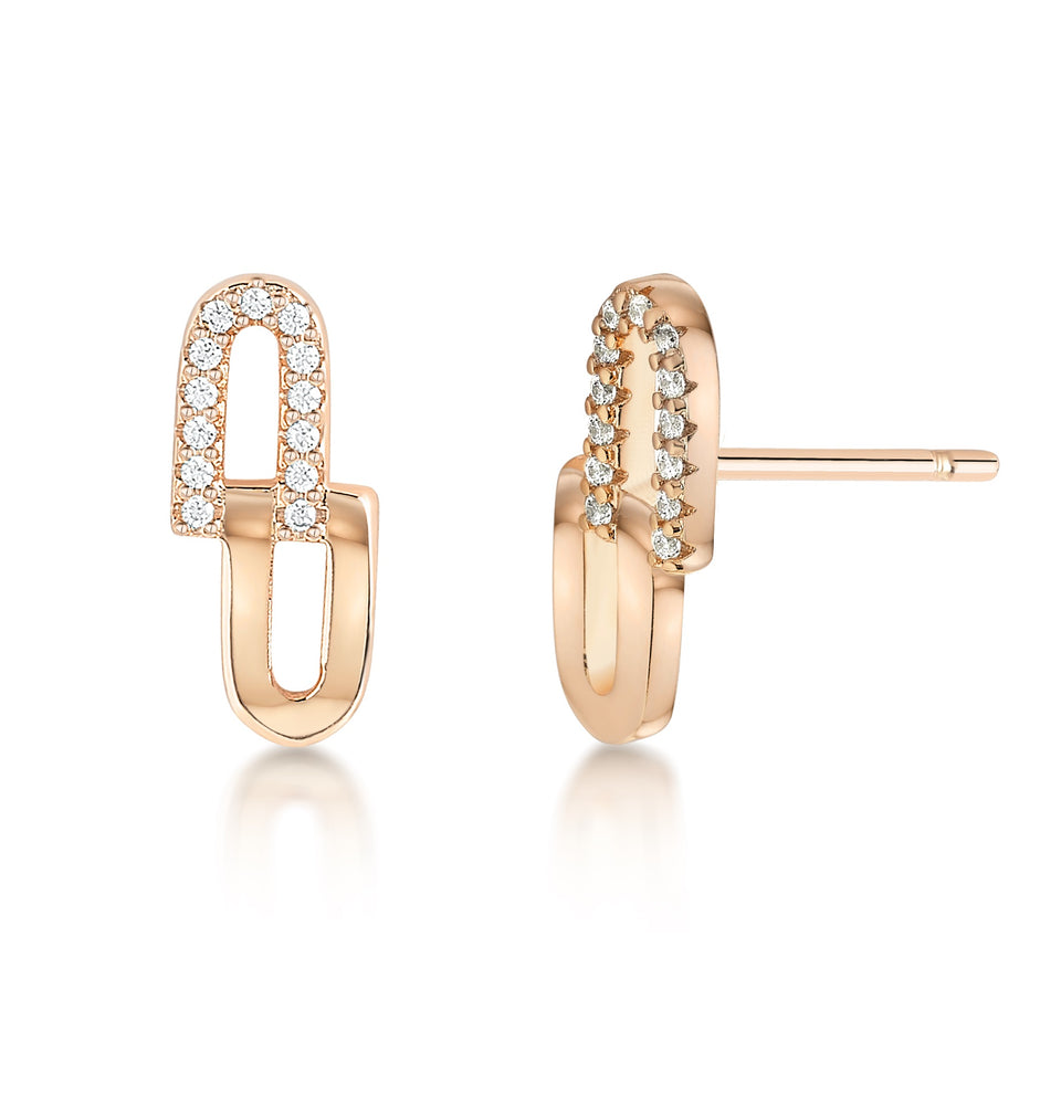 Load image into Gallery viewer, Chain Link earrings- Rose gold