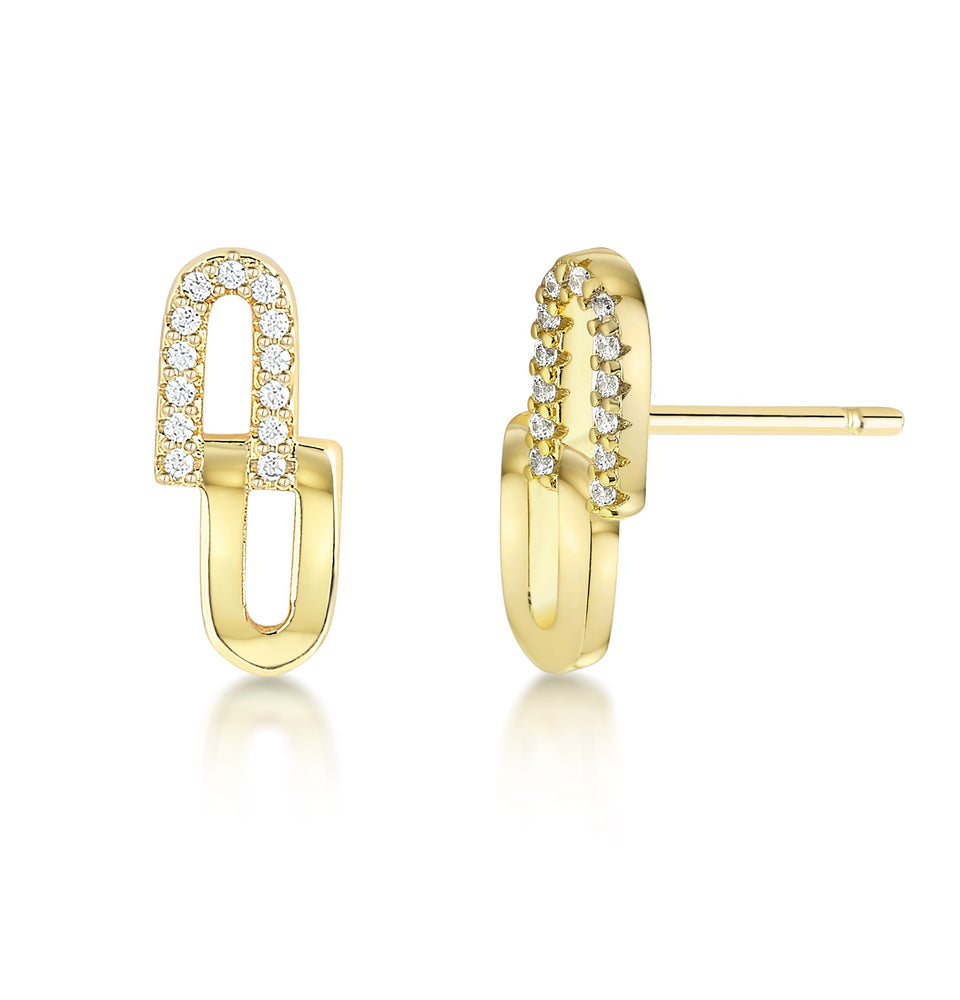 Chain Link earrings- Yellow gold