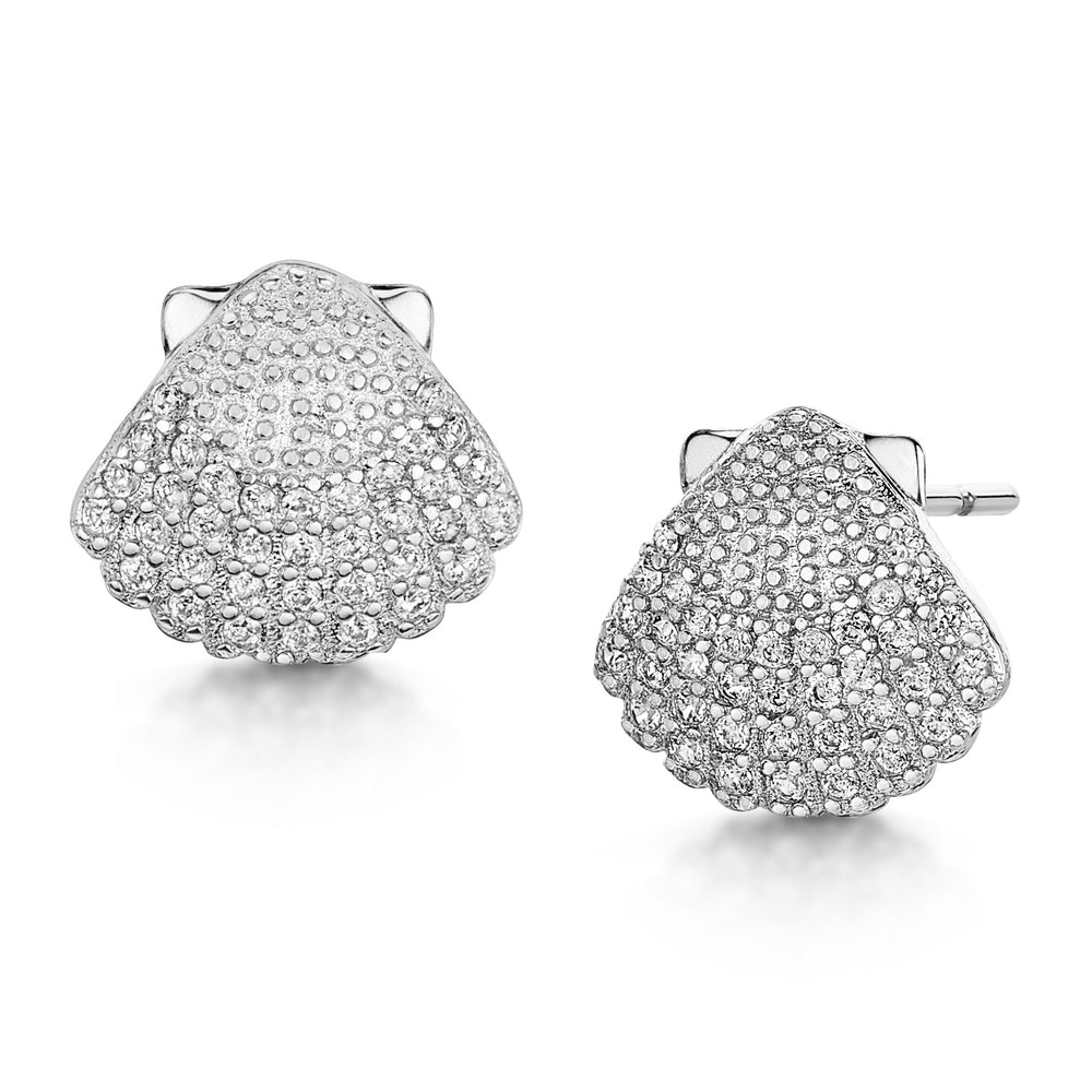 Michelle Studs- 'shell' - Rhodium/Clear