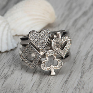 Load image into Gallery viewer, Alice Stacking Ring 'Heart' - Rhodium - S/M/L
