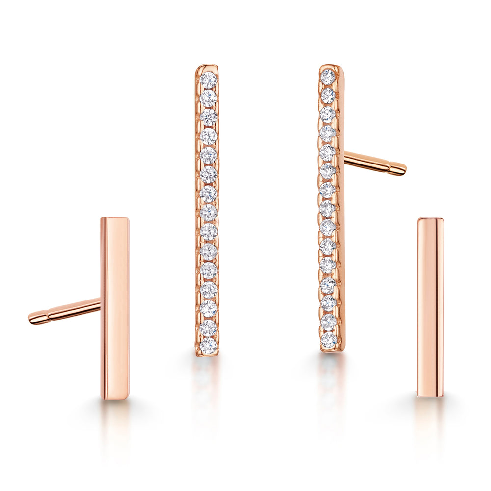 Leanne Earring Duo Set - Rose Gold