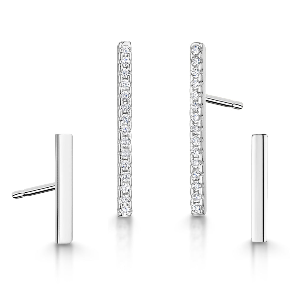 Leanne Earring Duo Set - Rhodium