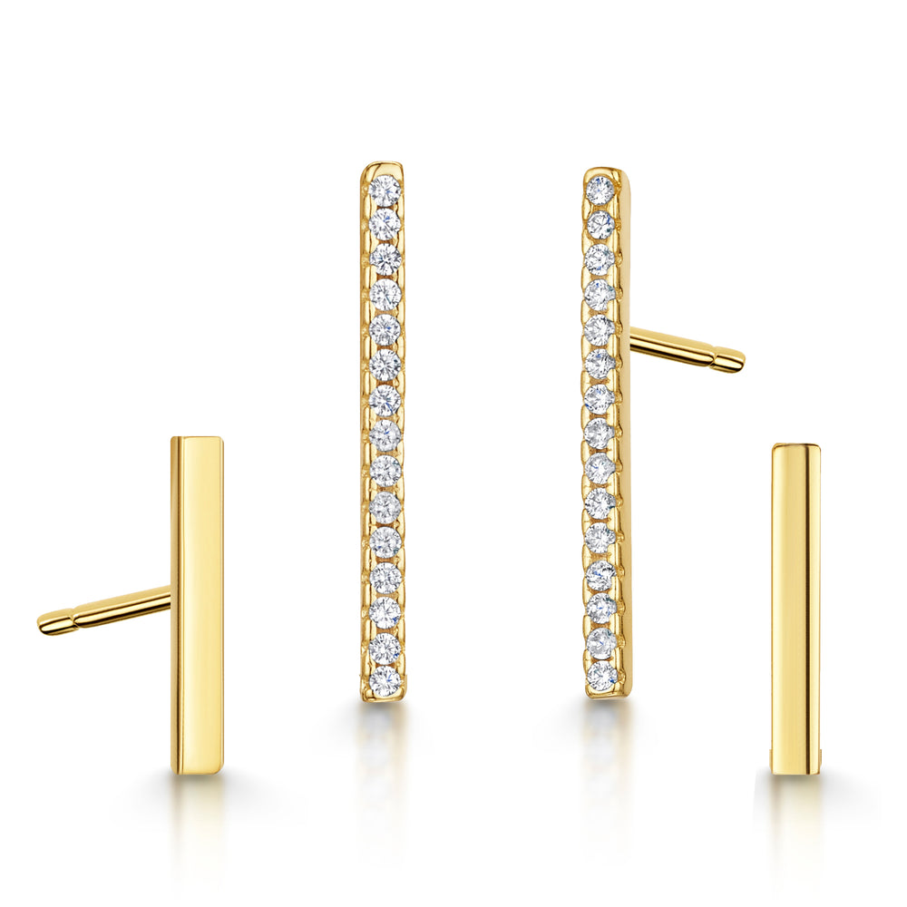 Leanne Earring Duo Set - Yellow Gold