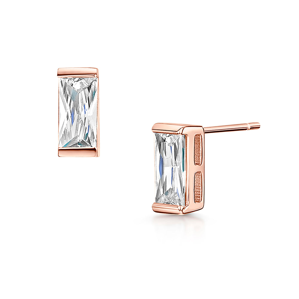 LXI Baguette earrings- Rose Gold