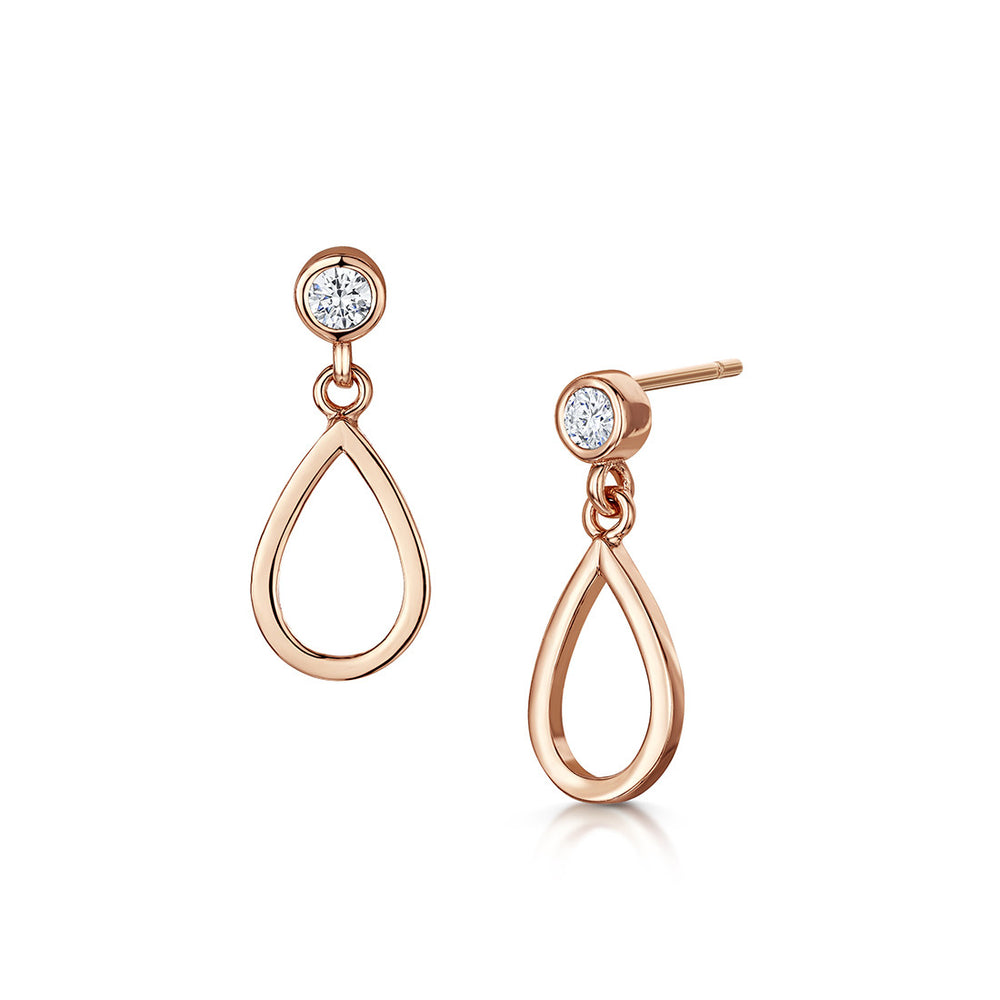 love story drop earrings rose gold