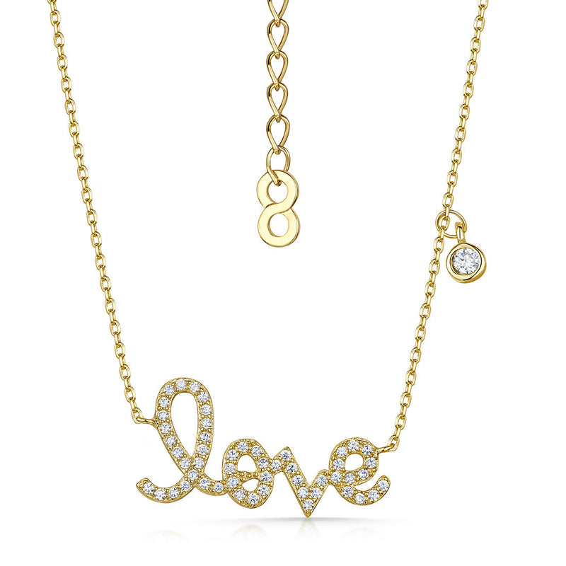 love story pave pendant gold