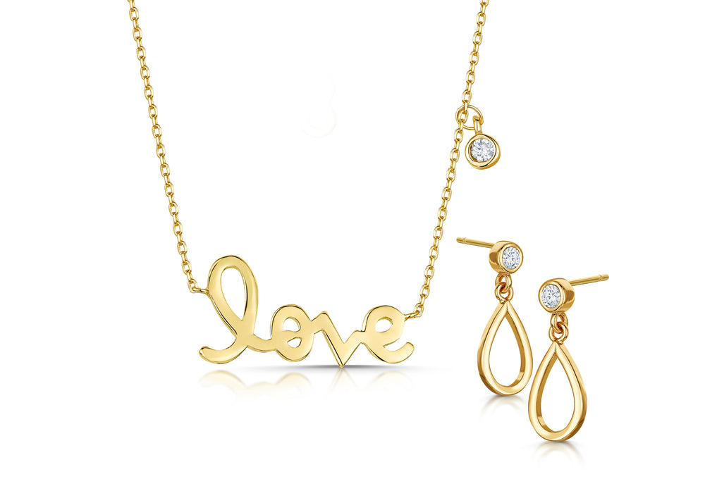 Love Story Pendant and Earring Set Yellow Gold