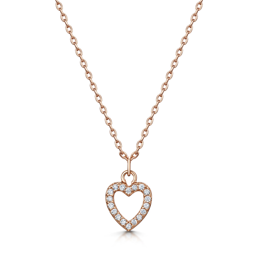 LXI Open Pave Heart Pendant
