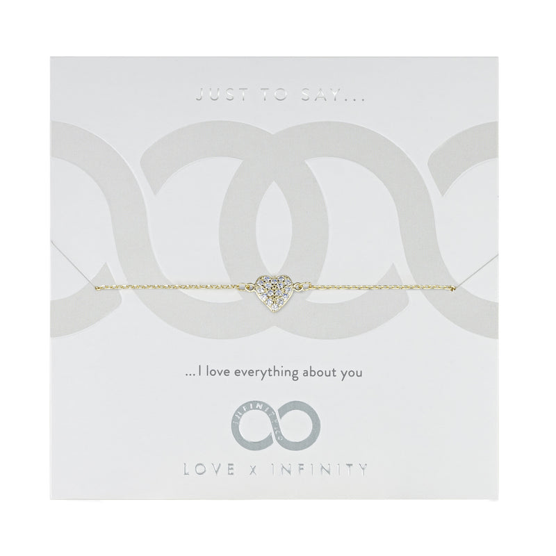 LXI Pave Heart Bracelet - Yellow Gold