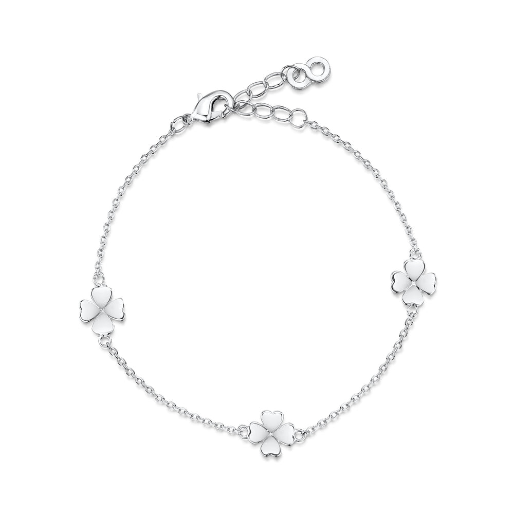 Load image into Gallery viewer, LXI Four Leaf Clover Bracelet - Rhodium
