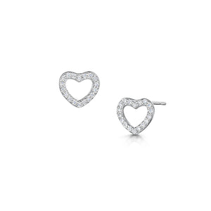 LXI Open Pave Heart Earrings - Rhodium