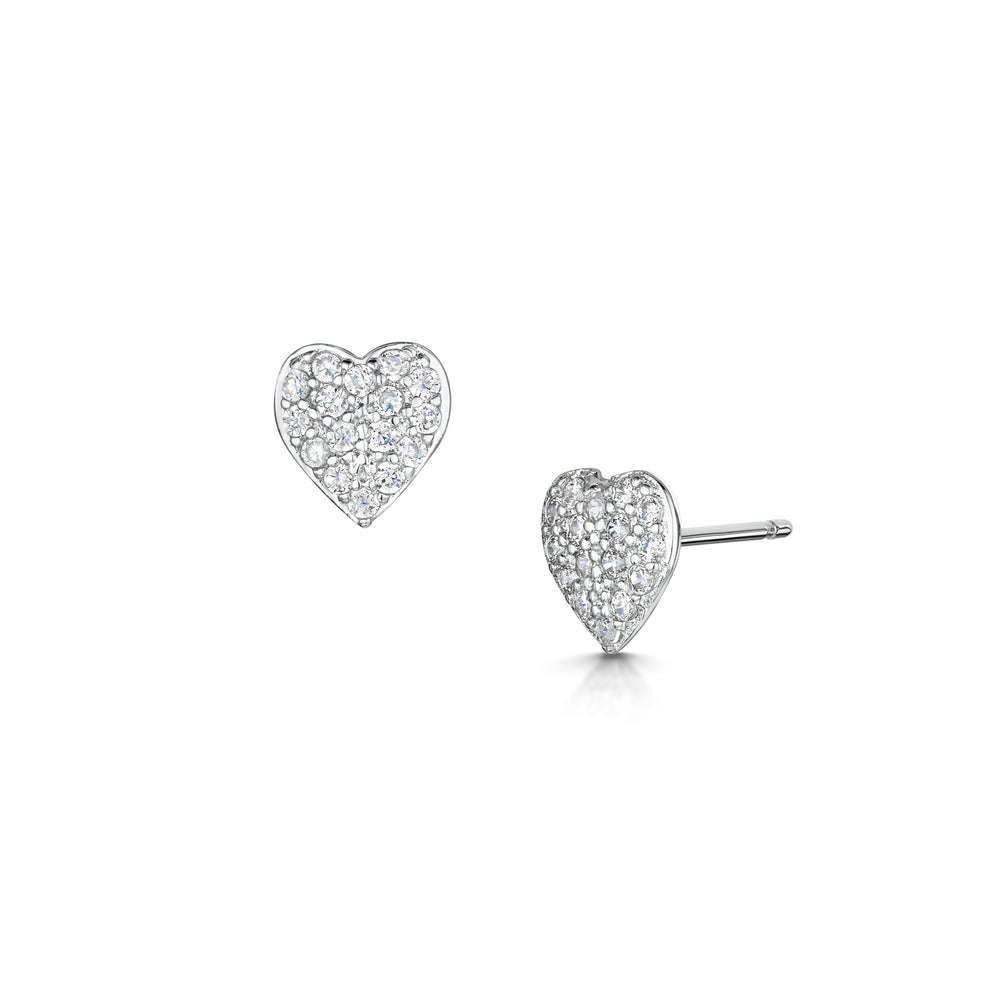 LXI Pave Heart Earrings