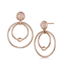 rosanna drop earrings rose gold with semi precious rose quartz