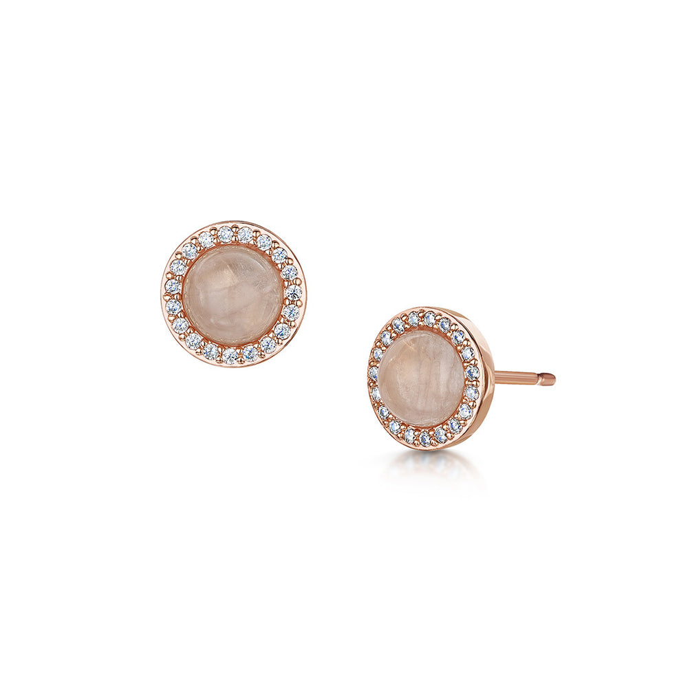 Load image into Gallery viewer, rose gold stud earrings with semi precious rose quartz