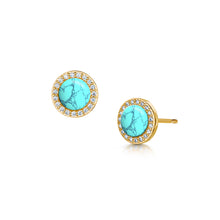 rosanna gold stud earrings with semi precious turquoise