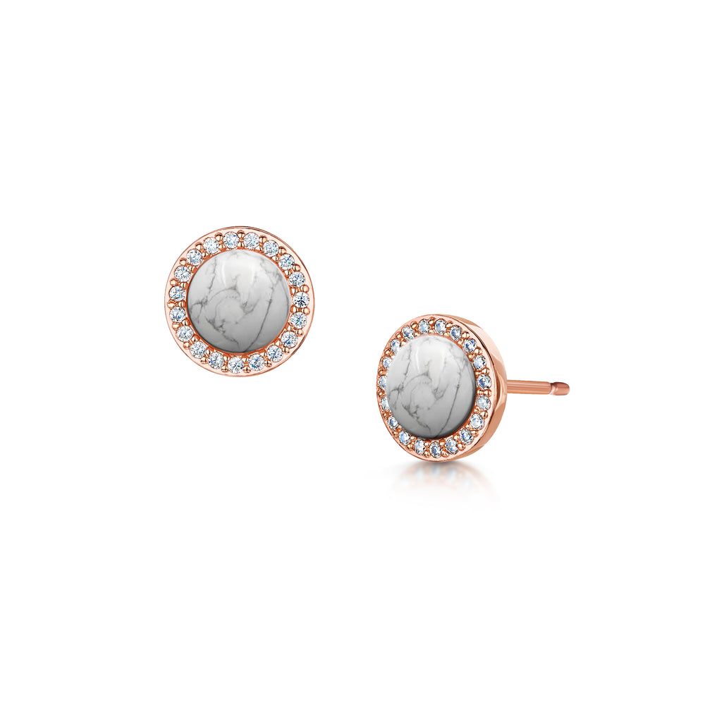 rosanna rose gold stud earrings with semi precious white turquoise