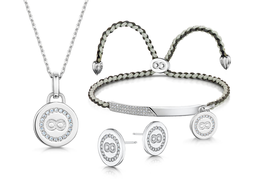Elizabeth Pendant, Friendship bracelet and Stud Set Rhodium