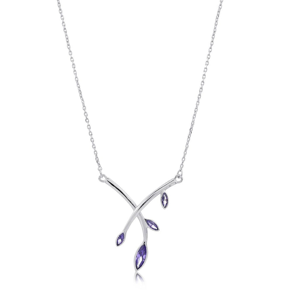 Theresa Crossed Branch Pendant - Purple/Rhodium