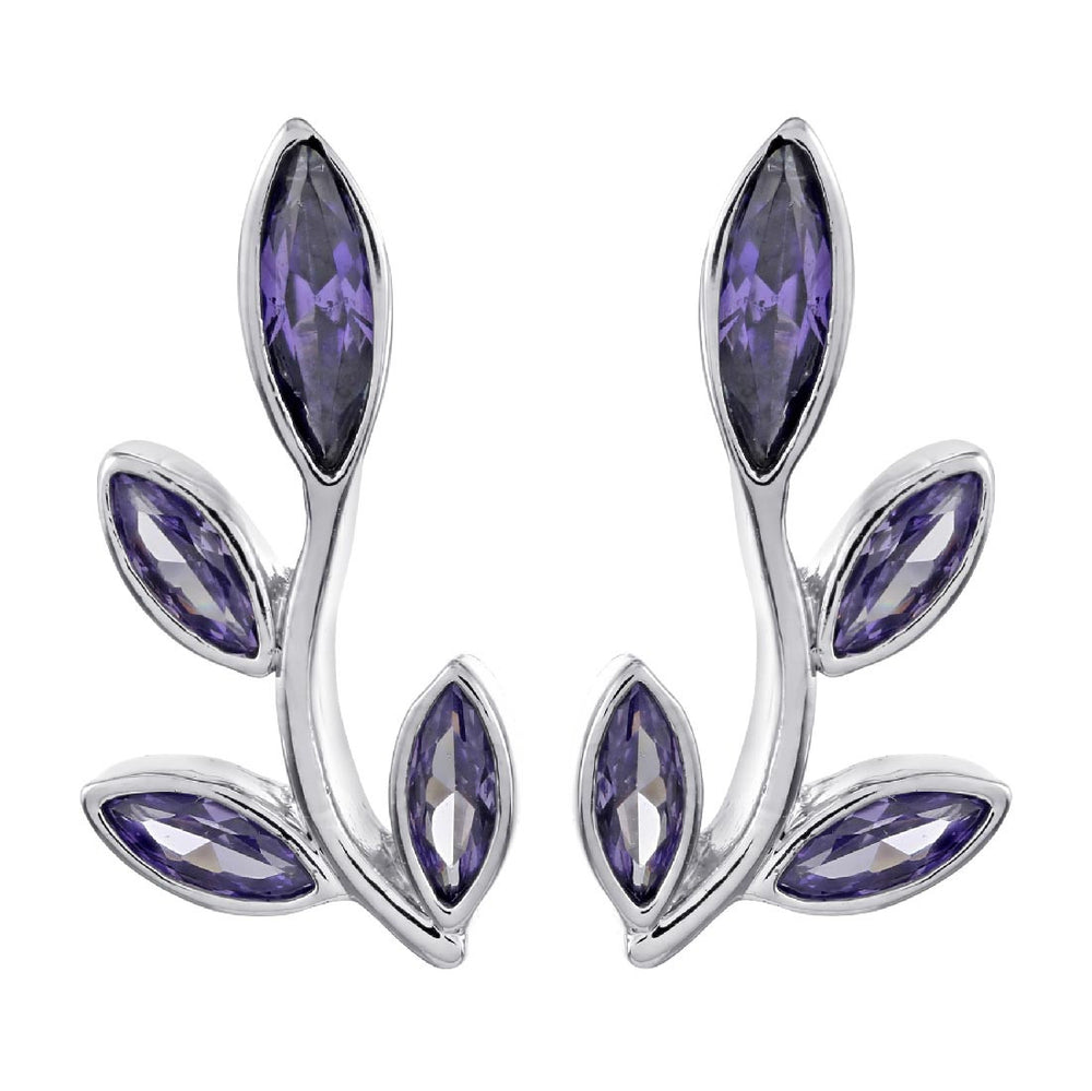 Theresa Branch Earrings - Purple/Rhodium
