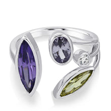 Theresa Multi Stone Ring - Purple/Rhodium