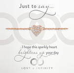 LXI Pave Heart Bracelet - Rose Gold