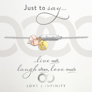 LXI Live, Laugh, Love Bracelet- Rhodium