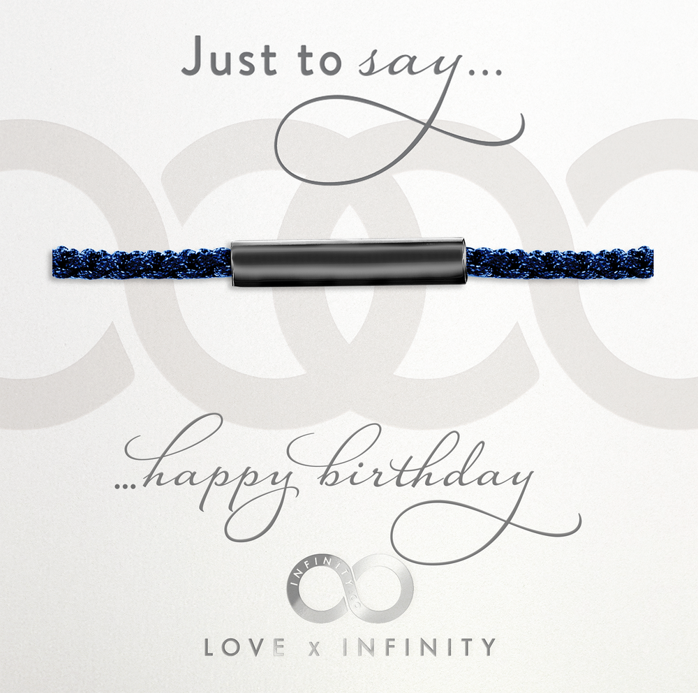 LXI Mens Happy Birthday Friendship Bracelet- Black Rhodium