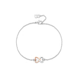 LXI Entwined Hearts Bracelet Rose Gold