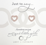 LXI Open Pave Heart Earrings - Rose Gold