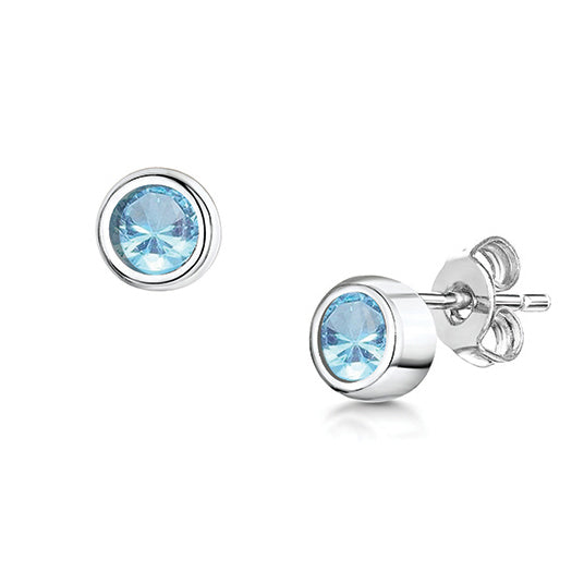 Load image into Gallery viewer, LXI Birthstone Earrings Aquamarine/March