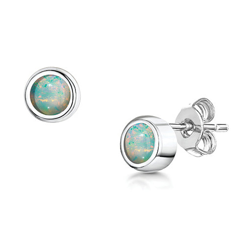 LXI Birthstone Earrings Opal/October