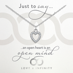LXI Open Pave Heart Pendant - Rhodium