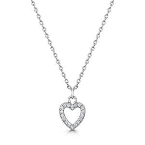 Load image into Gallery viewer, LXI Open Pave Heart Pendant - Rhodium