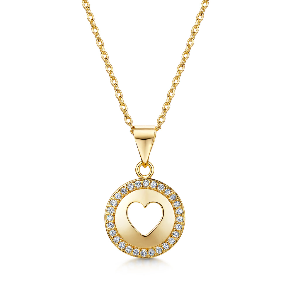 Cut Out Heart Halo Pendant