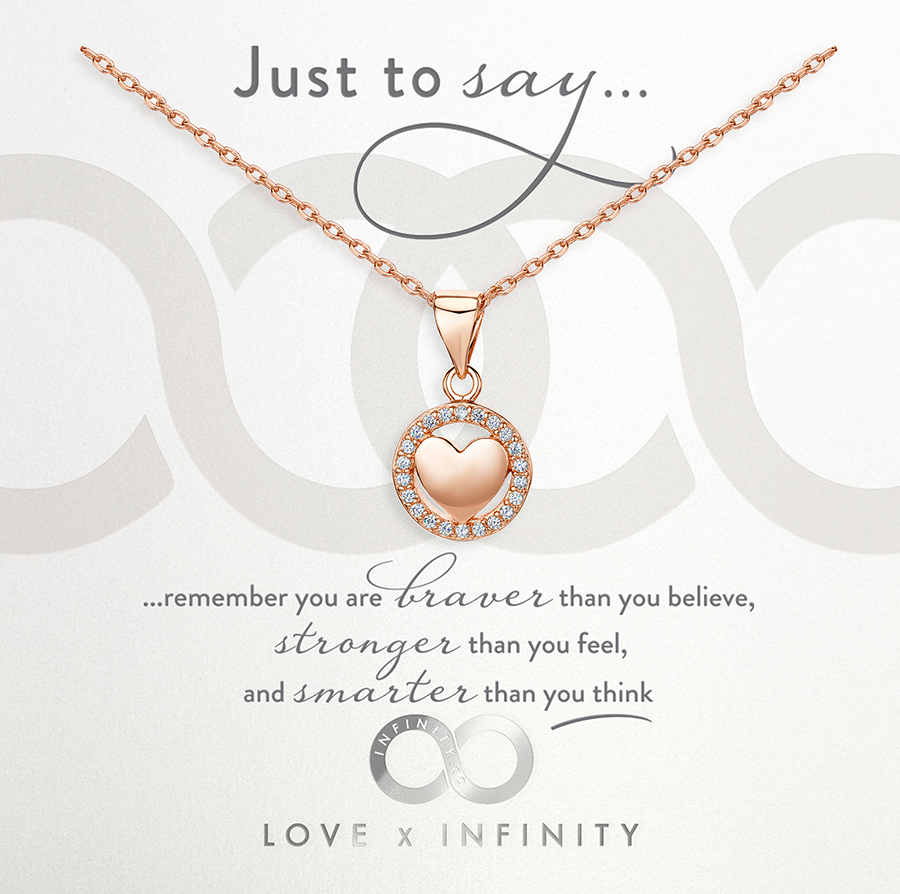 LXI Polished Heart Halo Pendant Rose Gold