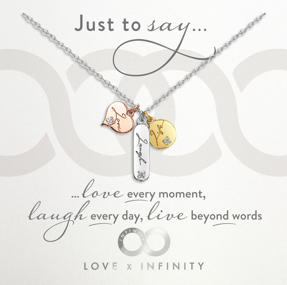 LXI Live, Laugh, Love Pendant- Rhodium
