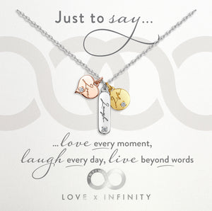Load image into Gallery viewer, LXI Live, Laugh, Love Pendant- Rhodium