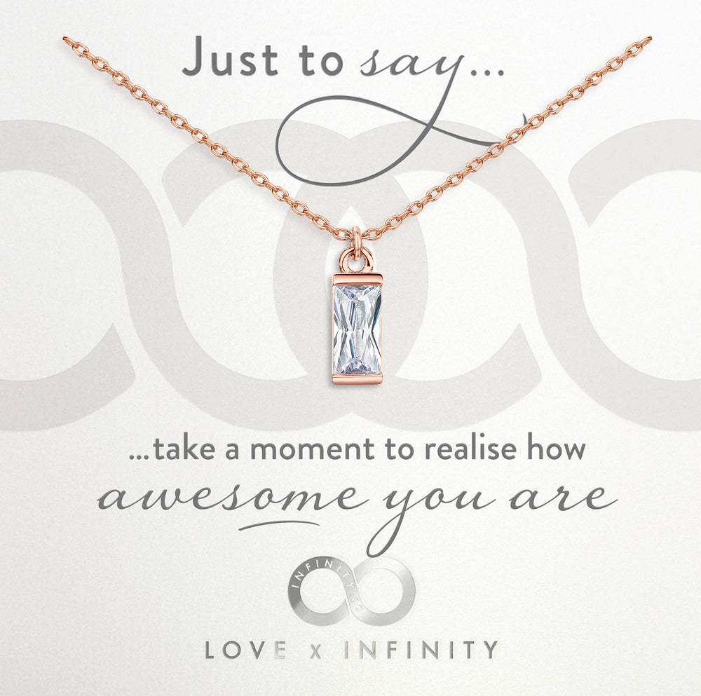 Load image into Gallery viewer, LXI Baguette Pendant- Rose Gold
