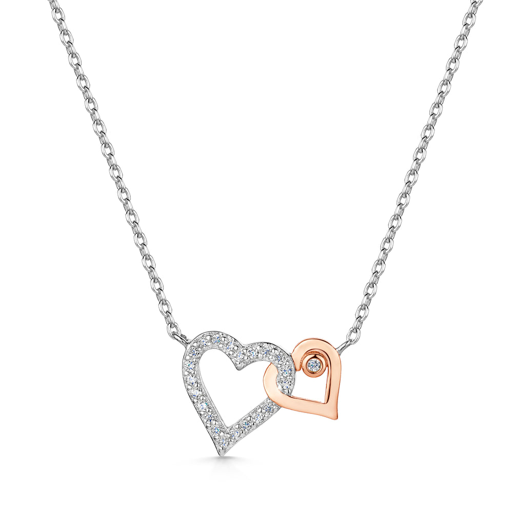 LXI Entwined Hearts Pendant Rose
