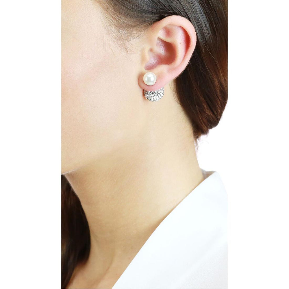 Dianna Double Ball Earrings - White/Rhodium Large Pave On Model