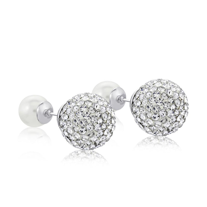 Dianna Double Ball Earrings - White/Rhodium Large Pave