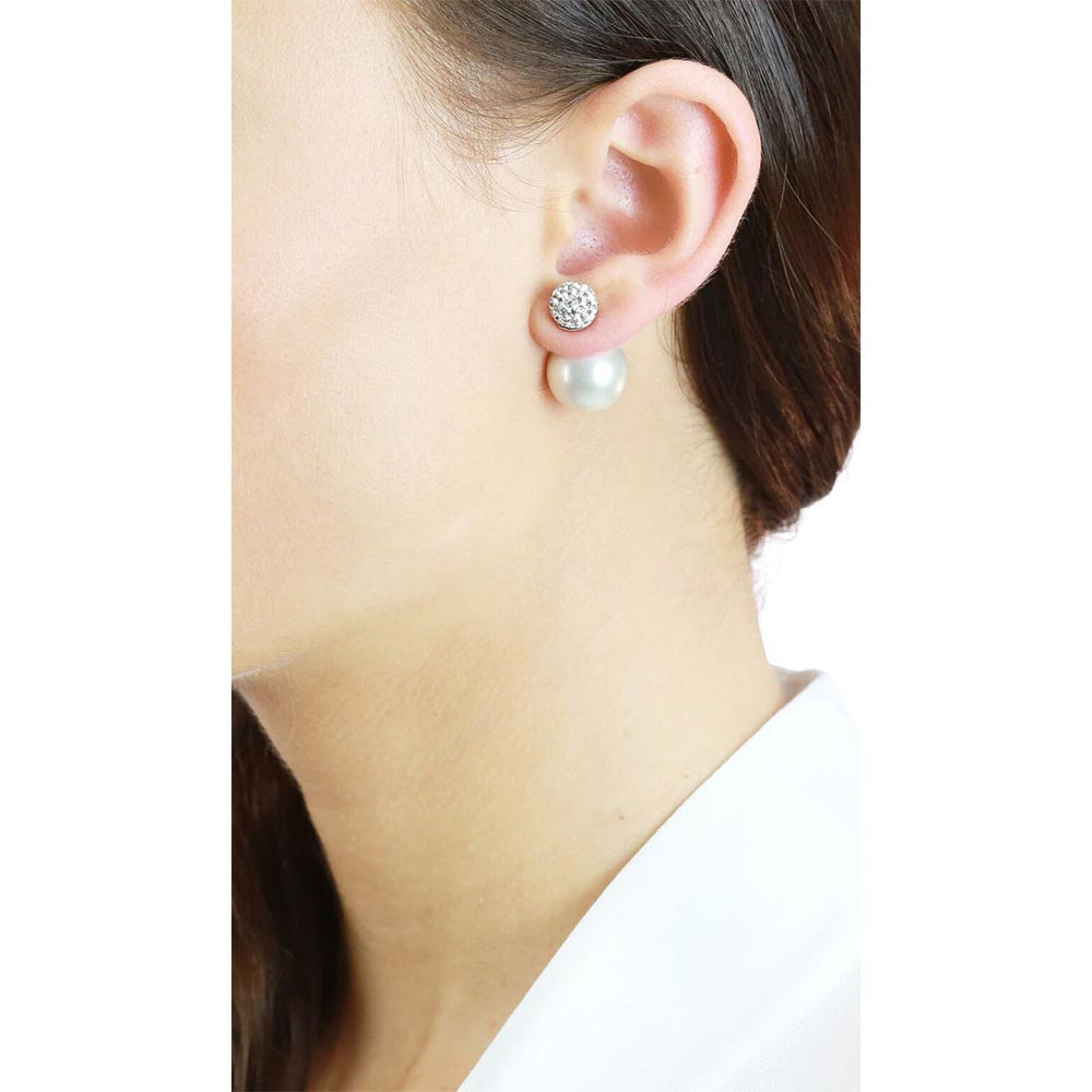 Dianna Double Ball Earrings - White/Rhodium Small Pave On Model