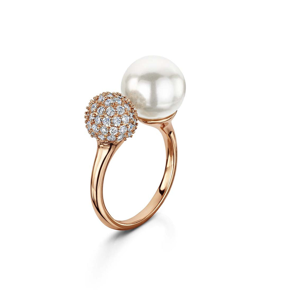 Load image into Gallery viewer, pearl and pave adjustable ring rose gold