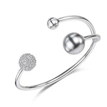 Dianna Double Ball Cuff - Rhodium